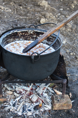 Traditional lard cooking in cold season Stock Photo