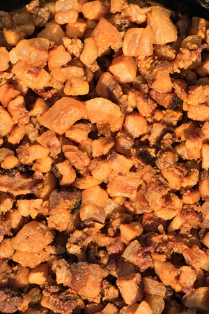 Pork crispy fat pieces, cooked for liquid fat used for frying Stock Photo