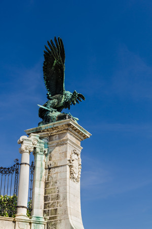 Buda  exterior ornate by a beautiful eagle statue in Budapest Hungary