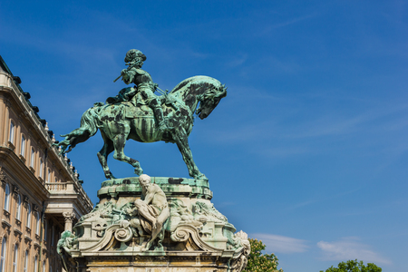eugene: Statue of Prince Eugene of Savoy in the court of Buda castle in Budapest Hungary