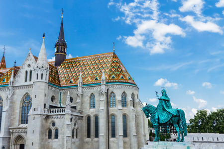 stephen: Statue of Saint Stephen in front of Fishermans bastion, Castle Hill, Budapest, Hungary