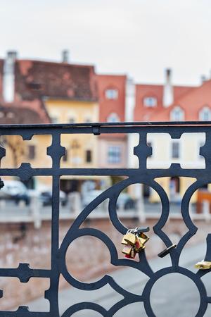 Tourists padlocks on the famous Liers bridge in the Sibiu Transylvania Romania