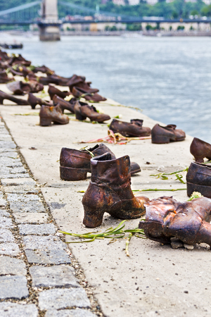 executed: Iron shoes memorial to Jewish people executed WW2 in Budapest Hungary Editorial