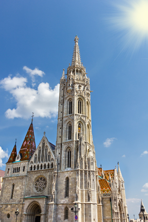 bastion: Matthias Church located in Budapest, Hungary, in front of the Fishermans Bastion