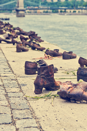 jewish people: Iron shoes memorial to Jewish people executed WW2 in Budapest Hungary Editorial