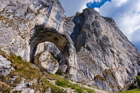 Beautiful stone erosion in Piatra Craiului mountain - South Carpathians Romania, called Cerdacul Stanciului