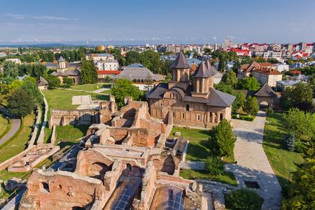 Aerial view over the historic town of Targoviste, Dambovita county, Romania
