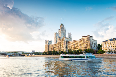 Moscow architecture and passengers boats on the Moskva river Stock Photo