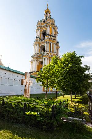 Novospassky monastery tower in Moscow Russia close to Proletarskaya metro station Stock Photo