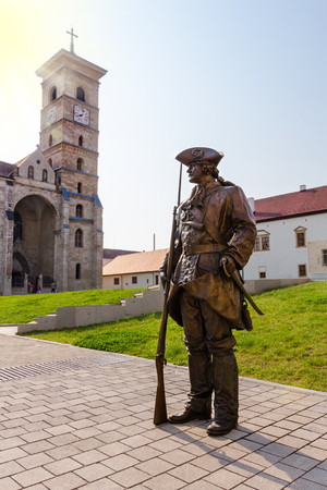 Medieval bronze warrior in the old town center of Alba Iulia in Transylvania Romania