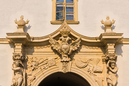 Decorative old building facade in historic center of Alba Iulia city in Romania