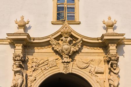 Decorative old building facade in historic center of Alba Iulia city in Romania