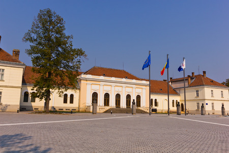 Alba Iulia, Romania - August 26, 2012: Union Hall building in the old town center of Alba Iulia, Transylvania, Romania