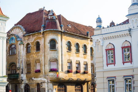 Beautiful old town center houses in the romanian western city Timisoara ( the European cultural capital in 2021)
