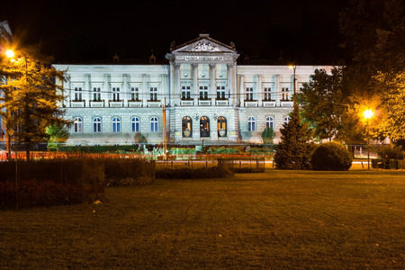 PITESTI, ROMANIA - SEPTEMBER 12, 2012: The Arges county museum in Pitesti city, Romania, by night