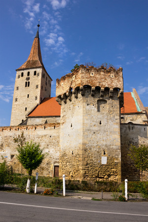 The remaining walls of the medieval Aiud fortress in Transylvania Romania