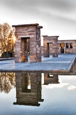 Sunset over the Debod  Ancient Egyptian temple in Madrid, Spain