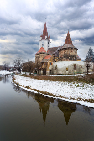 Fortified church of Cristian, Sibiu, Romania, during winter time Editorial