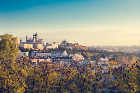 Fall colors over Spain capital Madrid - retro mood Stock Photo