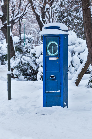 weighing scale in Herastrau park, Bucharest, Romania, during winter Stock Photo