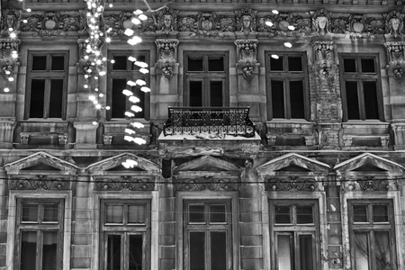 Rich architecture details on a building facade during winter season, in  Bucharest, Romania Stock Photo