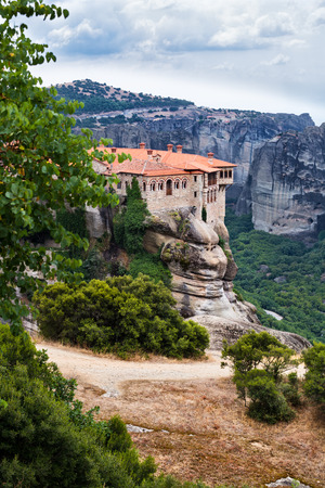 Famous Meteora monasteries placed on top of the mountains in  Greece Europe