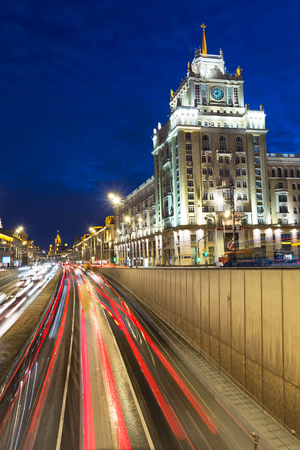 Blue hour traffic in Moscow Russia