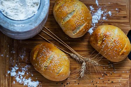 Mini homemade bread with sesame grains, just baked Stock fotó