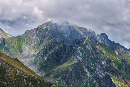 Peaks in Fagaras mountains, part of Romanian Carpathians during summer