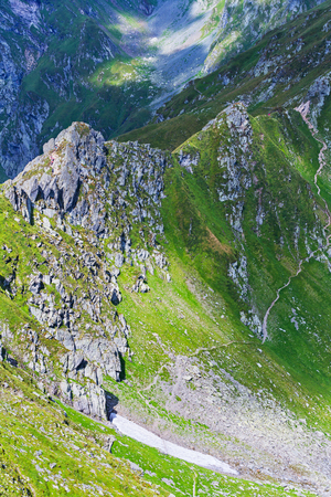 Tourists on Fagars mountains in Romania during summer