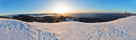Winter panorama with Fagaras mountains and Olt river, view from Cozia mountain in Romania Stock fotó