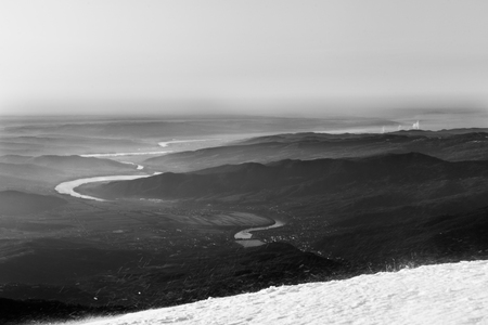 Olt river panoramic view from Cozia mountain black and white Stock fotó