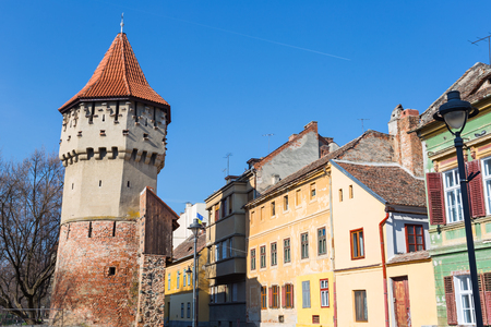 Medieval fortification system of walls and towers in famous Sibiu city in Transylvania Romania Stock fotó