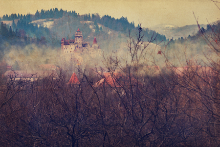 Bran castle, during winter day, also known as Dracula castle-  retro style