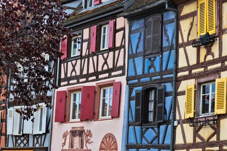 View with colorful raditional half timbered houses in Colmar, France.