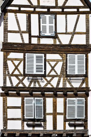 View with colorful traditional half timbered houses in Colmar, France