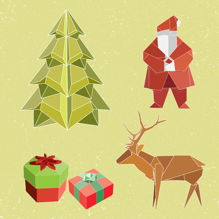 Christmas element icons for decoration in New year Celebration. Santa clause, Christmas tree, present boxes, reindeer.Huge set of 3D geometric shapes
