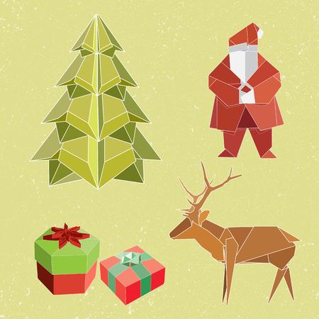 Icônes d'élément de Noël pour la décoration dans la célébration du nouvel an. Père Noël, arbre de Noël, boîtes à cadeaux, renne. Énorme ensemble de formes géométriques 3D