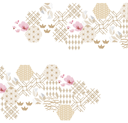 Cherry blossom flower pattern with gold Japanese graphic elements for poster, wallpaper, cover page design.