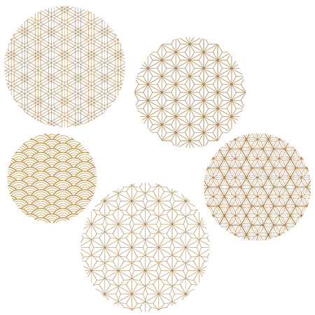 Japanese pattern background vector. Round gold geometric cover design.