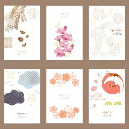 Japoński wzór tła. Żuraw, wstążka, elementy i ikony kwiat wiśni.