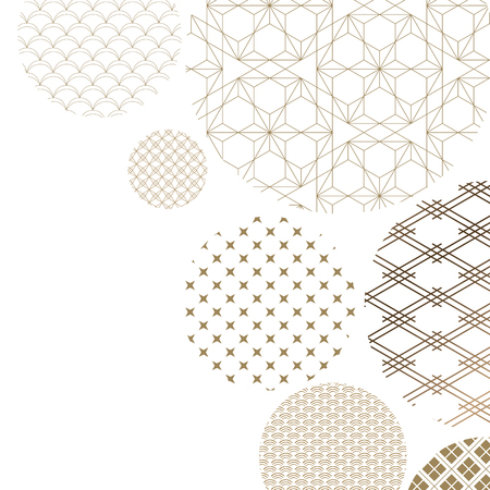 Japanese pattern background vector. Oriental gold geometric texture for cover design , poster, card, template.
