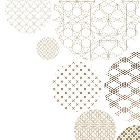Vector de fondo de patrón japonés. Textura geométrica de oro oriental para diseño de portada, cartel, tarjeta, plantilla.
