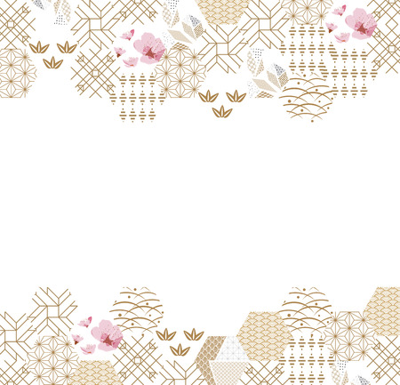 Japanese pattern frame and border vector. Gold and pink geometric background. Nature icons and symbols texture for card, poster, template, cover page design.