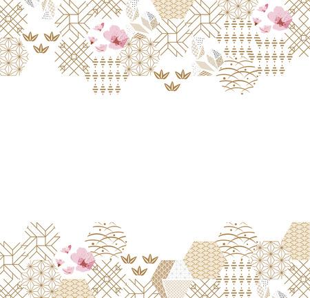 Modèle japonais cadre et vecteur de frontière. Fond géométrique or et rose. Texture des icônes et des symboles de la nature pour carte, affiche, modèle, conception de page de couverture.