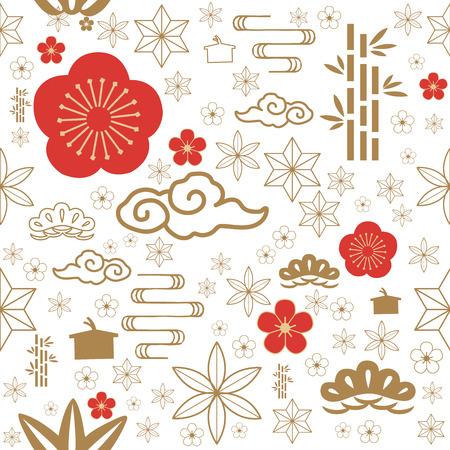 Icona giapponese vettoriale. Fondo senza cuciture di simbolo tradizionale rosso e oro per la carta di celebrazione come fiore di ciliegio, cespuglio, nuvola, fiore, bambù, onda.