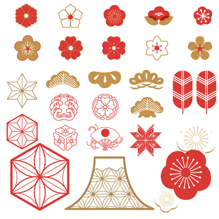 Japanese icons vector. Red symbols and pattern. Traditional of Japan for decoration elements.