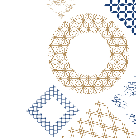 Gold and blue Japanese pattern vector for poster