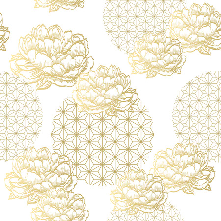 Gold Japanese pattern vector. Geometric and Floral background.