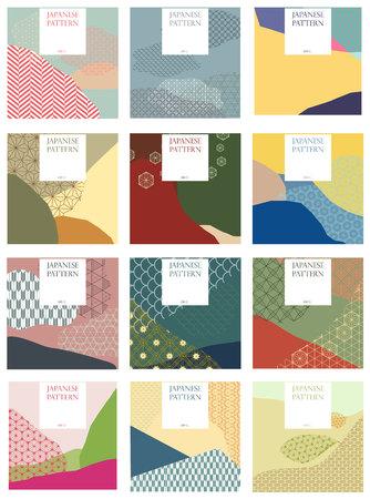 Japanischer Mustervektor. Jahreszeithintergrund für Einladungskarte, Hochzeit, Plakat, Hintergrund, Tapete. Collagenart mit traditionellem von Japan-Beschaffenheit.